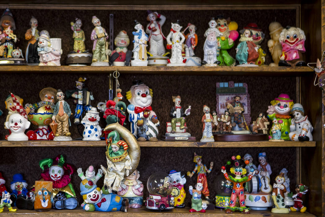 About 600 clowns decorate the lobby of the Clown Motel in Tonopah on Wednesday, July 26, 2017. Visitors have traveled from around the world to stay at the motel, and many have brought clown donati ...