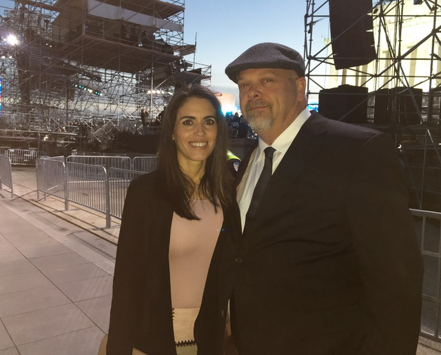 """Rick Harrison and his wife, DeAnna, are shown at the """"Make America Great Again"""" concert at Lincoln Memorial in Washington on Thursday, Jan. 19, 2017. (John Katsilometes/Las Vegas Review-Journal)"""