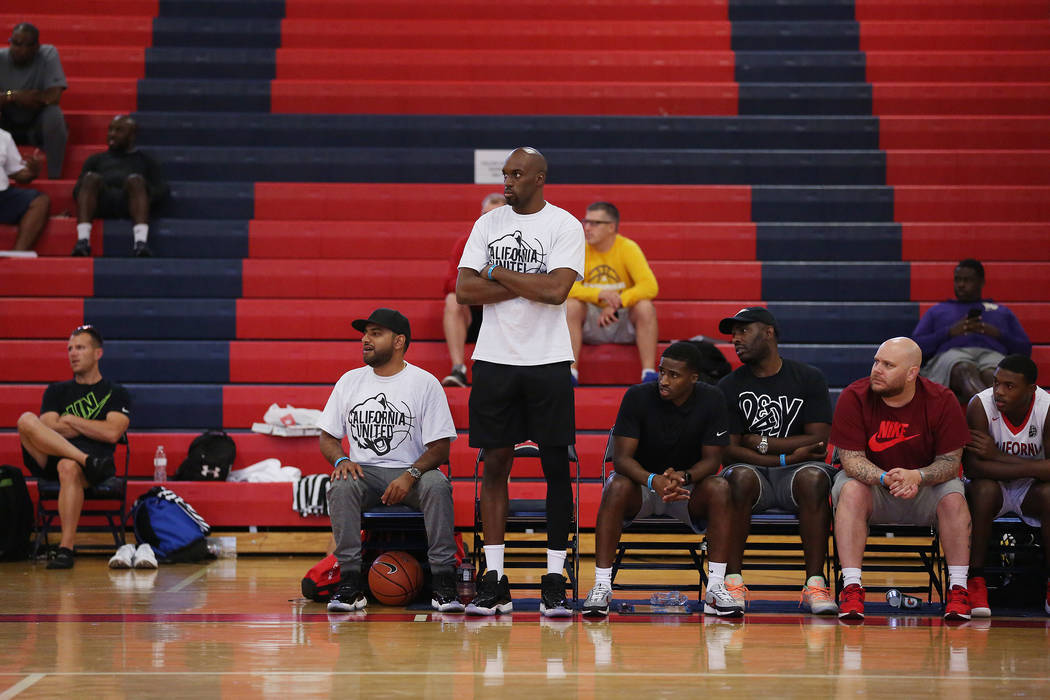 California United  and NBA player Quincy Pondexter stands to watch his players during an AAU game at Liberty High School on Friday, July 28, 2017 in Henderson. Bridget Bennett Las Vegas Review-Jou ...