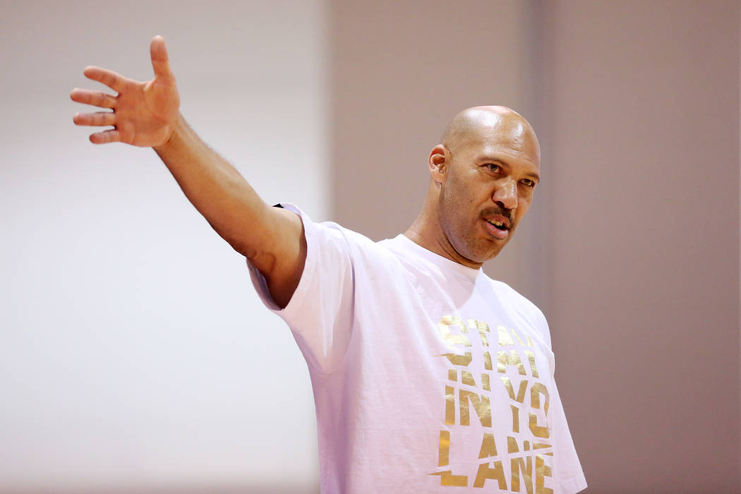 Big Baller Brand AAU team coach LaVar Ball calls out to his players during an Adidas Summer Championship AAU tournament game at Cashman Center in Las Vegas on Thursday, July 27, 2017.  Bridget Ben ...