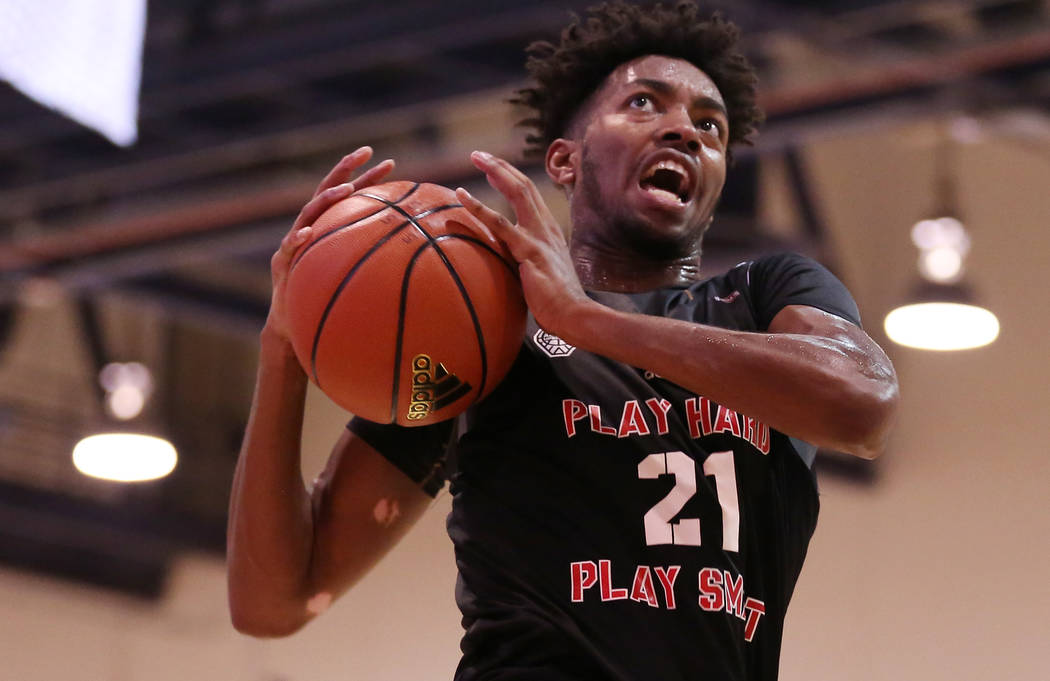 Play Hard Play Smart player Jordan Brown goes up for a basket during an Adidas Summer Championship AAU tournament game at Cashman Center in Las Vegas on Thursday, July 27, 2017.  Bridget Bennett L ...