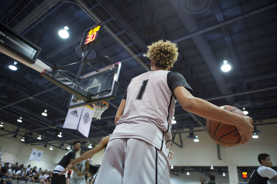 Big Baller Brand player LaMelo Ball prepares to pass during an Adidas Summer Championship AAU tournament game at Cashman Center in Las Vegas on Thursday, July 27, 2017.  Bridget Bennett Las Vegas  ...