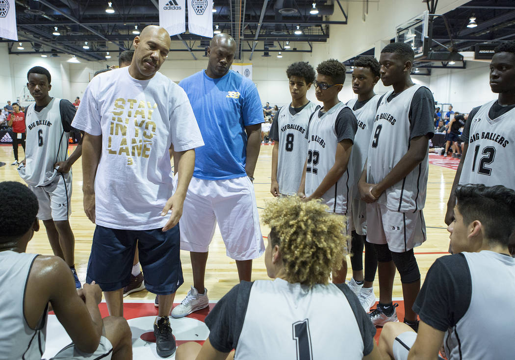 Big Baller Brand AAU team coach LaVar Ball talks with his players during an Adidas Summer Championship AAU tournament game at Cashman Center in Las Vegas on Thursday, July 27, 2017.  Bridget Benne ...