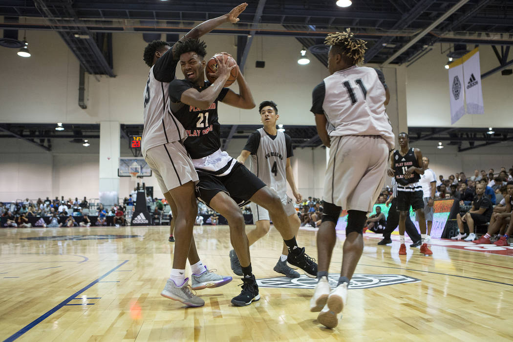 Play Hard Play Smart player Jordan Brown brings the ball to the basket during an Adidas Summer Championship AAU tournament game at Cashman Center in Las Vegas on Thursday, July 27, 2017.  Bridget  ...