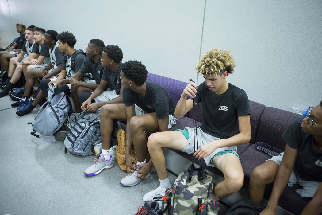 Big Baller Brand player LaMelo Ball, right, with his teammates after an Adidas Summer Championship AAU tournament game at Cashman Center in Las Vegas on Thursday, July 27, 2017.  Bridget Bennett L ...