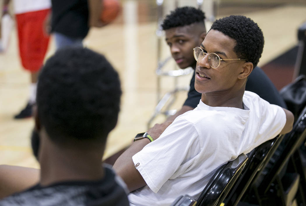 Cal Supreme player Shareef O'Neal, son of Shaquille O'Neal, takes a break during practice at Ed W. Clark High School in Las Vegas on Wednesday, July 26, 2017.  Bridget Bennett Las Vegas Review-Jou ...