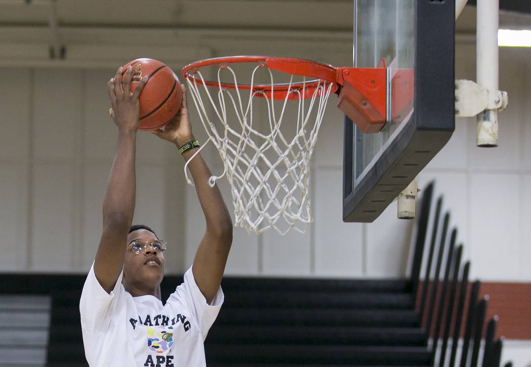Cal Supreme player Shareef O'Neal, son of Shaquille O'Neal, goes up for a basket during practice at Ed W. Clark High School in Las Vegas on Wednesday, July 26, 2017.  Bridget Bennett Las Vegas Rev ...