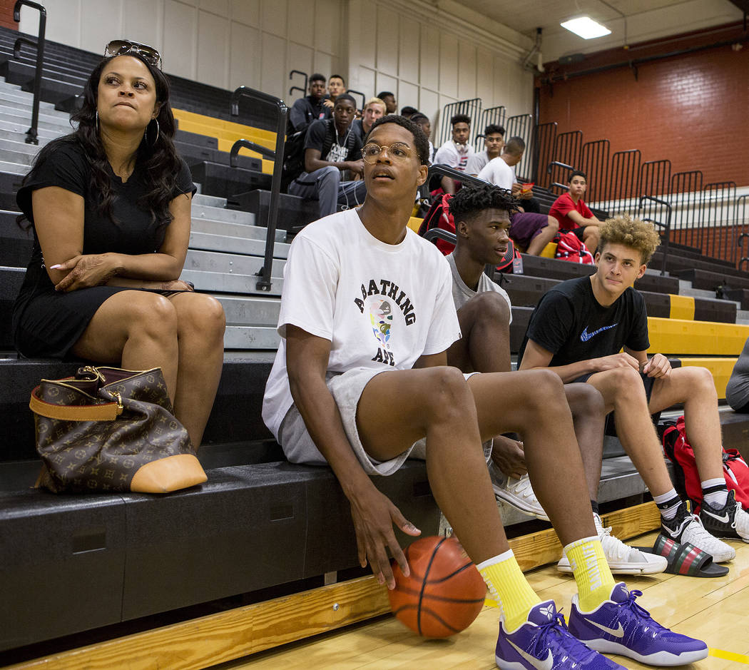 Cal Supreme player Shareef O'Neal, son of Shaquille O'Neal, sits prior to a team practice at Ed W. Clark High School in Las Vegas on Wednesday, July 26, 2017.  Bridget Bennett Las Vegas Review-Jou ...
