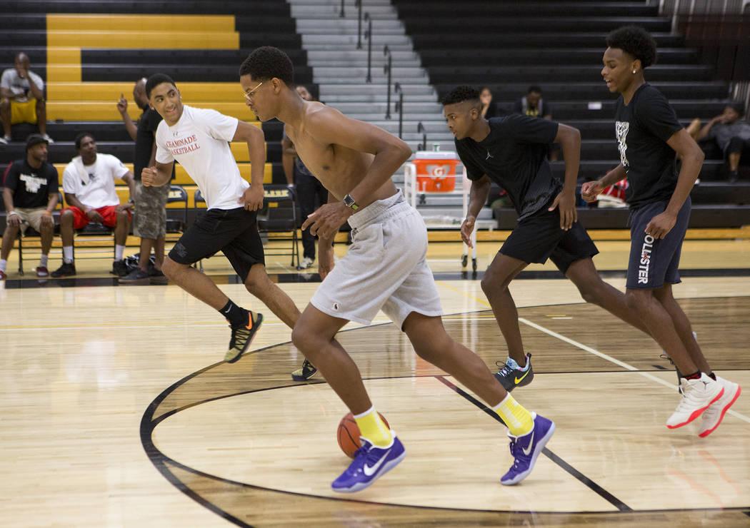 Cal Supreme player Shareef O'Neal, son of Shaquille O'Neal, practices at Ed W. Clark High School in Las Vegas on Wednesday, July 26, 2017.  Bridget Bennett Las Vegas Review-Journal @bridgetkbennett