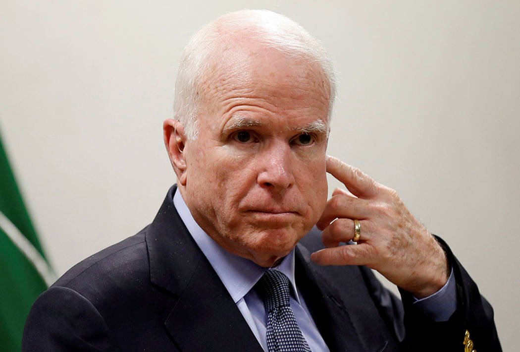 U.S. Senator John McCain looks on during a news conference in Kabul, Afghanistan on July 4, 2017. (REUTERS/Mohammad Ismail)