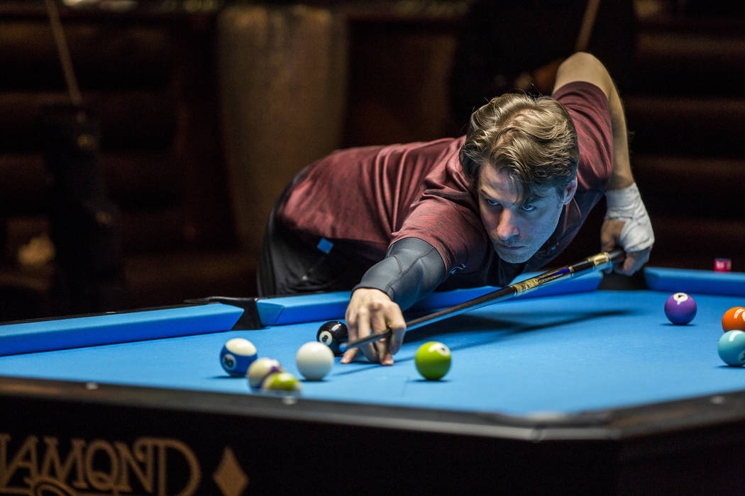 Michael Yednak lines up his shot during the U.S. Open 8-Ball Championship at Griff's Las Vegas on Sunday, July 30, 2017.  Patrick Connolly Las Vegas Review-Journal @PConnPie