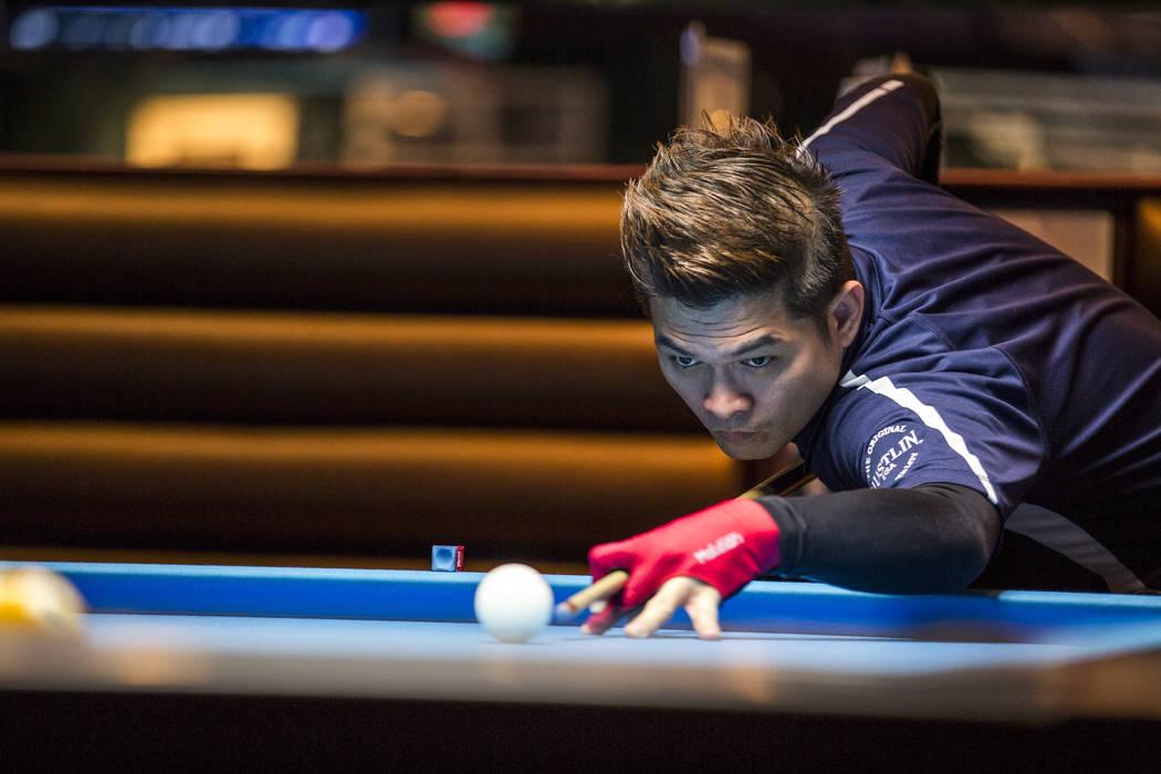 Roberto Gomez Jr. lines up his shot during the U.S. Open 8-Ball Championship at Griff's Las Vegas on Sunday, July 30, 2017.  Patrick Connolly Las Vegas Review-Journal @PConnPie