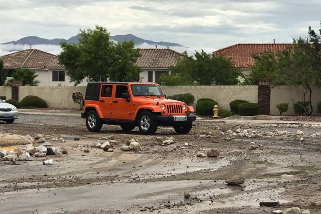 Debris left behind after the rain in northwest Las Vegas, Tuesday morning, July 25, 2017. (Wesley Juhl/Las Vegas Review-Journal)