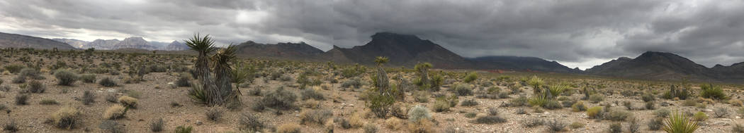 ****A panoramic photo by mobile device.**** Rain clouds roll over Little Red Rocks on the Las Vegas Valley's west rim Tuesday, July 25, 2017.  Keith Rogers Las Vegas Review-Journal