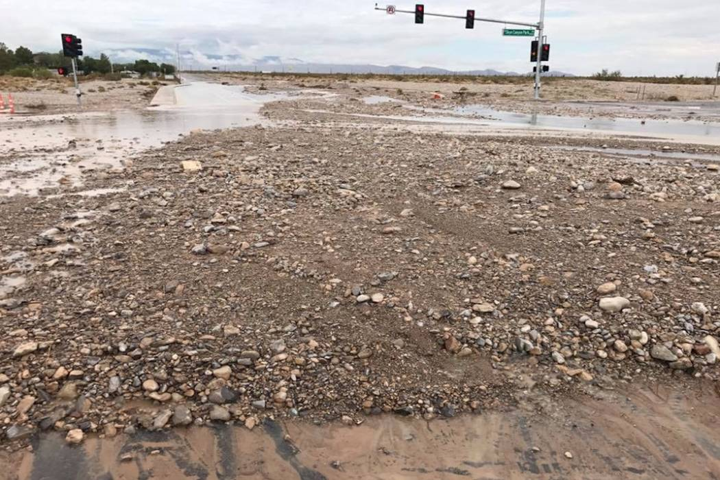 Debris left by floods at Skye Canyon Park Dr. and Iron Mountain in northwest Las Vegas, Tuesday, July 25, 2017. (Meagan Kenniston/Facebook)