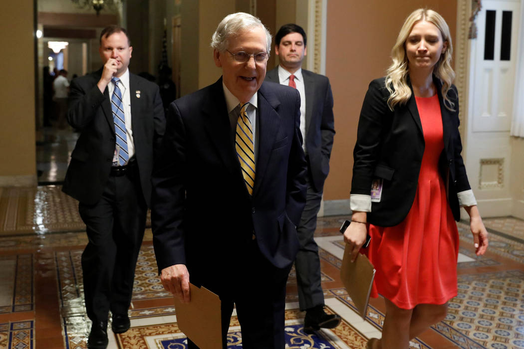 Senate Majority Leader Mitch McConnell leaves his office ahead of today's vote on the health care bill on Capitol Hill in Washington, July 25, 2017. (Aaron P. Bernstein/Reuters)
