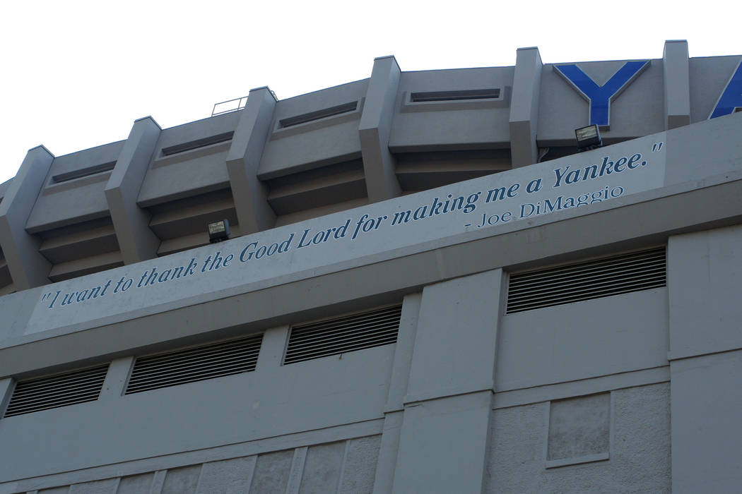"""Exterior view of sign on Yankee Stadium where Joe DiMaggio proclaims """"I want to thank the Good Lord for making me a Yankee."""" (AP Photo/Gregory Payan)"""