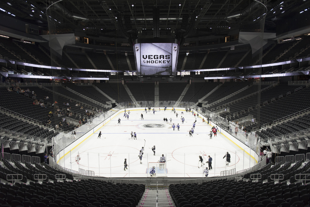Members of the Storm Youth Hockey organization skate on the newly installed ice at T-Mobile Arena in Las Vegas Wednesday, Aug. 3, 2016. Jason Ogulnik/Las Vegas Review-Journal