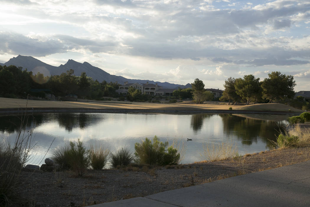 Dry grass in the late afternoon sun at the Badlands Golf Club in Queensridge, Las Vegas, Thursday, July 27, 2017. In June 2017, the golf course's owners turned the water off, allowing the grass to ...