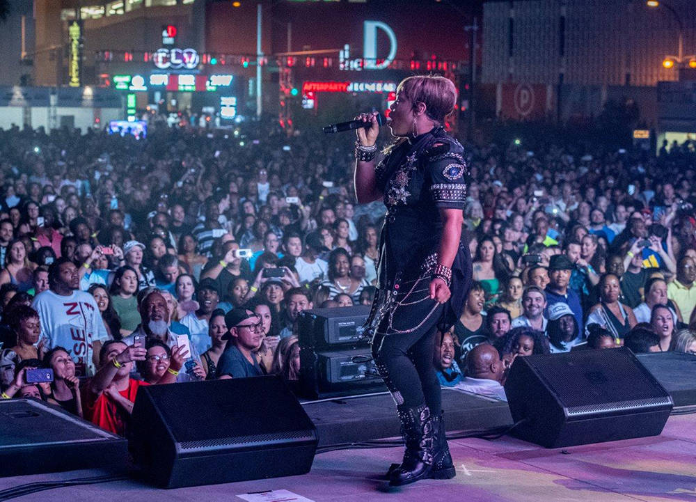 "More than 6,000 fans, including UFC Chief Dana White and boxing champion Floyd Mayweather, turned out at the Downtown Las Vegas Events Center for Derek Steven's continuing party for ""I Love Th ..."
