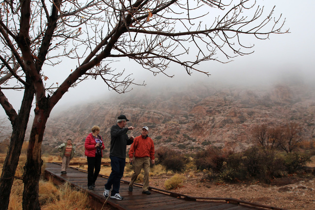 Visitors stroll the fog shrouded Red Spring boardwalk at Red Rock Canyon National Conservation Area on Dec. 3, 2014. A portion of the boardwalk has been closed indefinitely for safety reasons. (La ...
