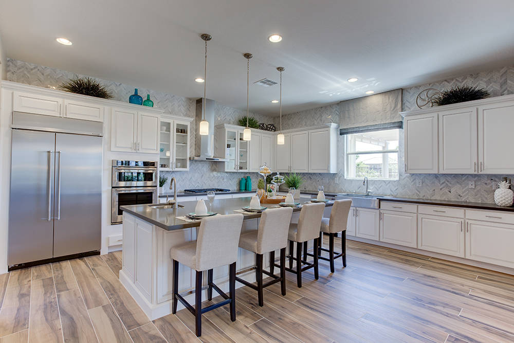 Century Communities' model home at its Meadow Ridge neighborhood, 5933 Sunset River Ave., showcases an upgraded kitchen.  (Century Communities)