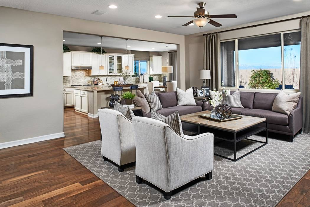 One of the Encore model homes by Richmond American Homes showcases a great room. (Cadence)