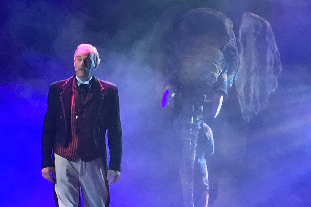 """David Williamson, who plays ringmaster Willy Whipsnade in """"Circus 1903,"""" is shown in a sneak preview for the show at AG Light and Sound in North Las Vegas on Tuesday, July 18, 2017. (John Katsilom ..."""