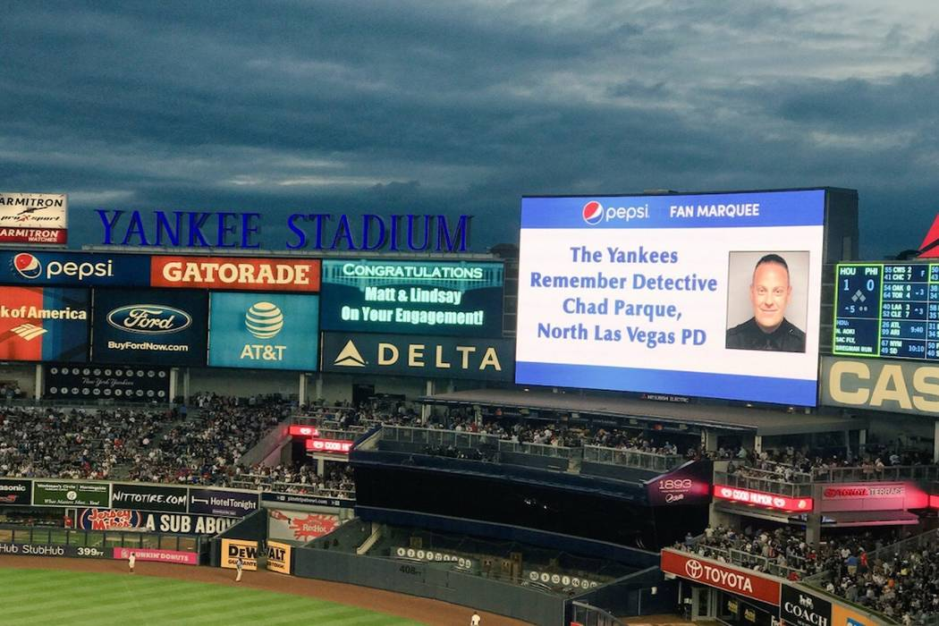 Chad Parque honored at Yankee Stadium (NLVPD/Twitter)