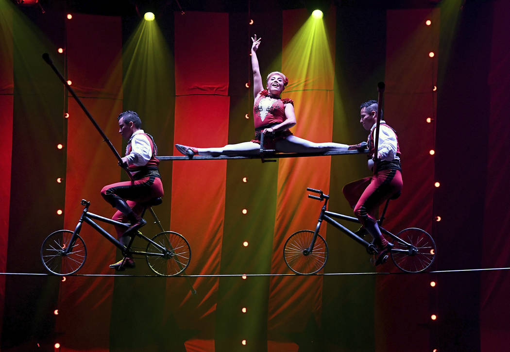 """The members of Los Lopez perform a highwire act during the opening night of """"Circus 1903"""" at Paris Las Vegas.  Ethan Miller Getty Images"""