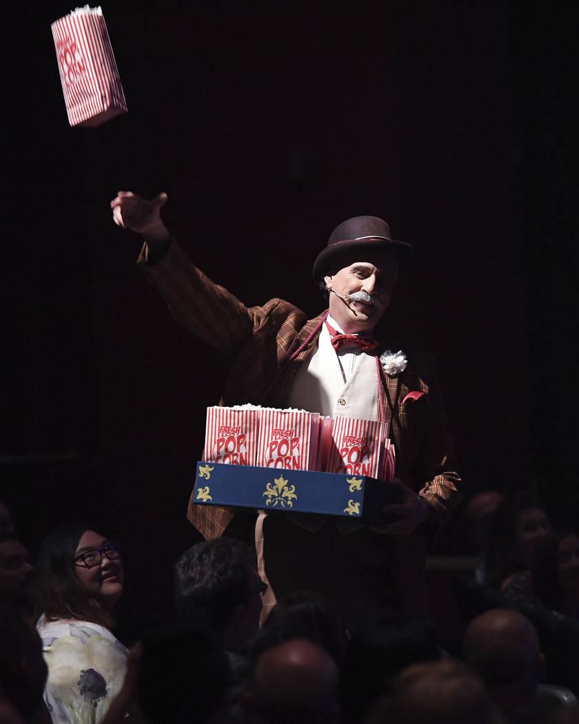 "LAS VEGAS, NV - JULY 25:  Ringmaster Willy Whipsnade throws popcorn into the crowd during the opening night of ""CIRCUS 1903"" at Paris Las Vegas on July 25, 2017 in Las Vegas, Nev ..."