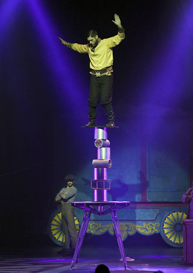 """Geddy """"The Sensational Sozonov"""" Pavlovich performs during the opening night of """"Circus 1903"""" at Paris Las Vegas.  Ethan Miller Getty Images"""