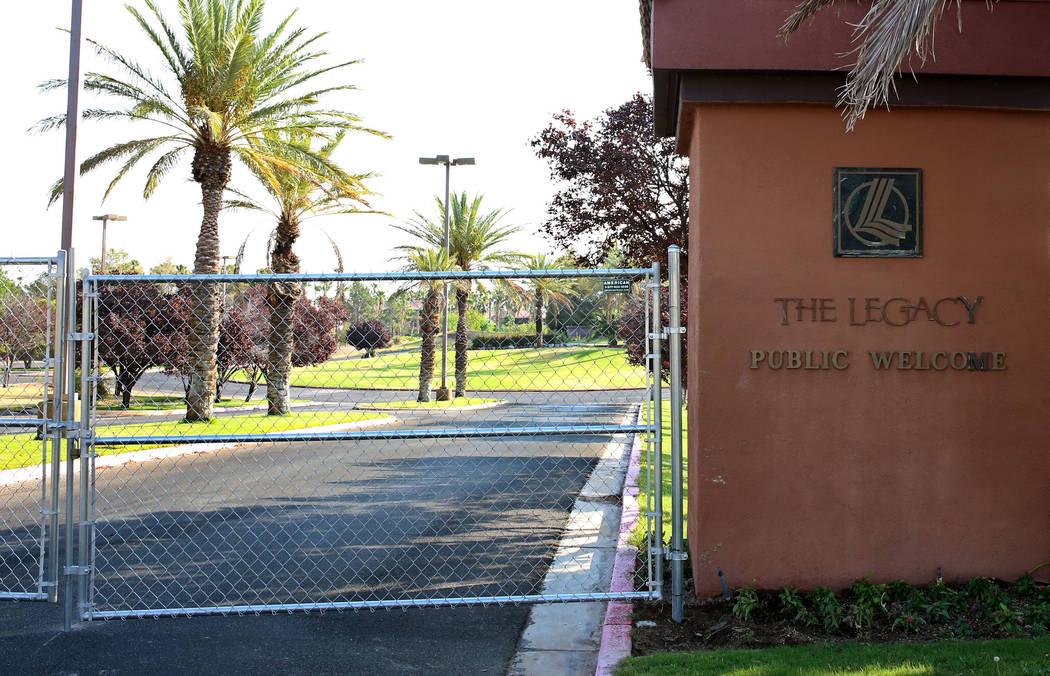 The entrance to the Legacy Golf Club in Henderson secured with wire fence on Tuesday, July 11, 2017, after it was reportedly sold for $5.6 million to an unknown buyer and closed indefinitely.  Biz ...