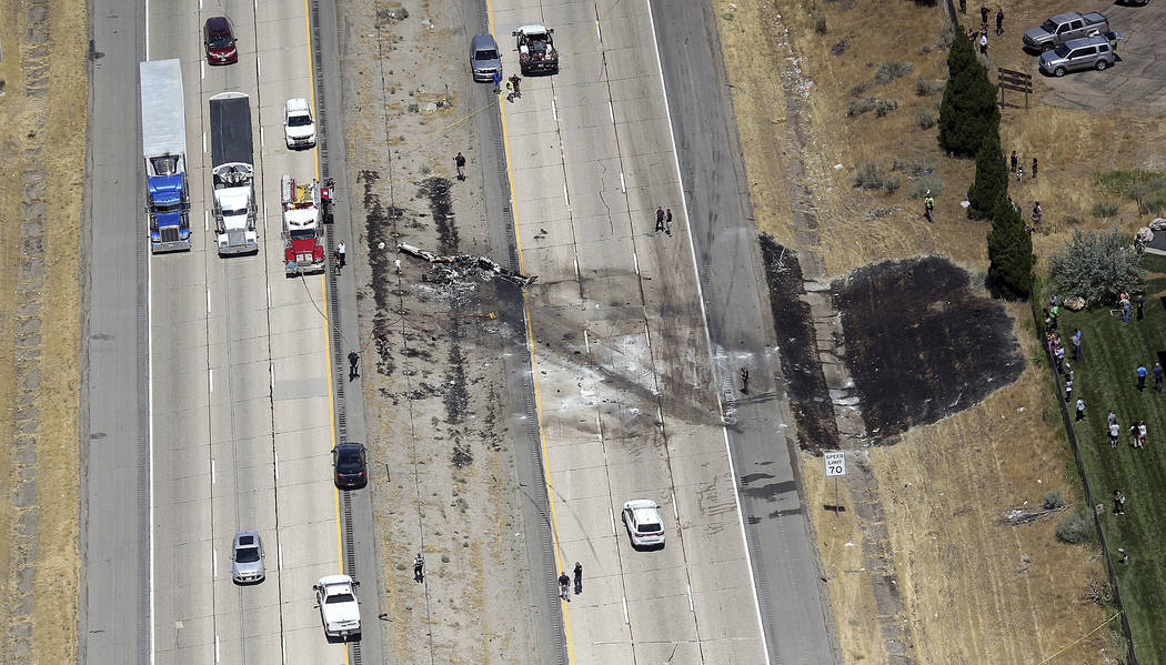 A small plane crashed after it took off from a nearby municipal airport on Interstate 15 in Riverdale, Utah, about 35 miles north of Salt Lake City, Wednesday, July 26, 2017. Authorities say sever ...