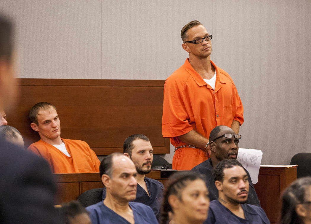 Two-time killer Scott Dozier stands for a hearing about his death sentence at the Regional Justice Center on Thursday, July 27, 2017. Dozier was advised by his attorney and others to seek an appel ...