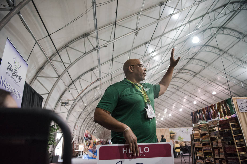 """""""Big Dave"""" Sylvester looks for new people to approach at Las Vegas Gift Show at Las Vegas Market on Sunday, July 30, 2017, in Las Vegas. Morgan Lieberman Las Vegas Review-Journal"""