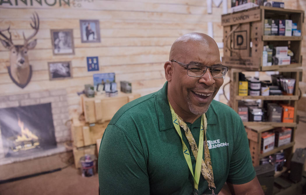 """Big Dave"" Sylvester sitting in front of the Duke Cannon booth at Las Vegas Gift Show at Las Vegas Market on Sunday, July 30, 2017, in Las Vegas. Morgan Lieberman Las Vegas Revie ..."