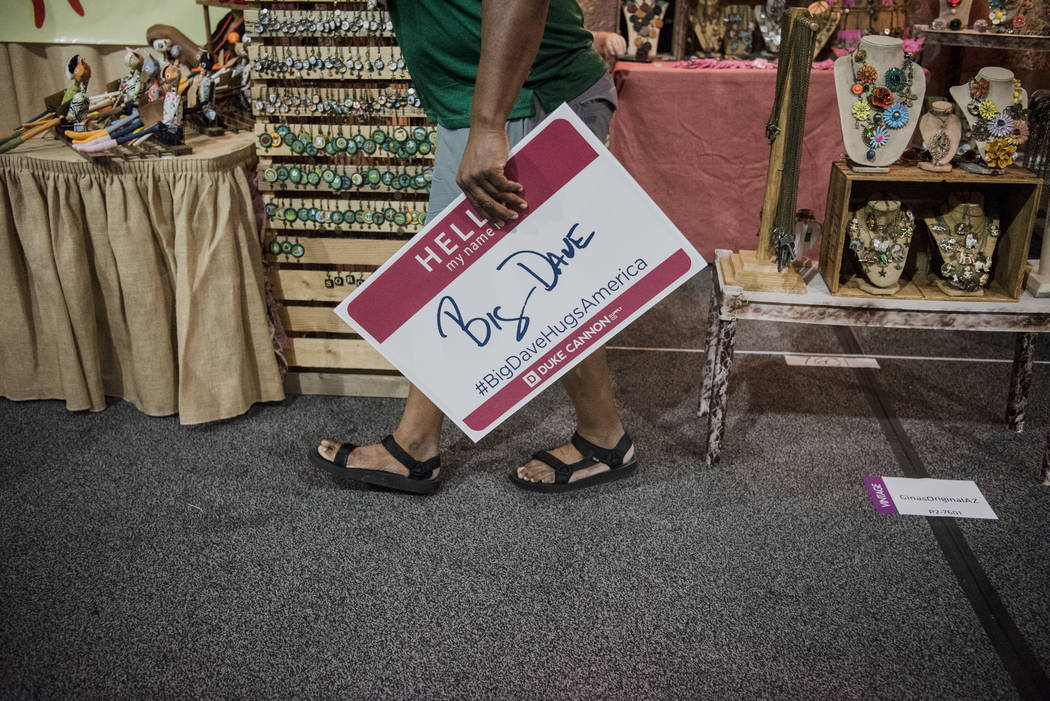 """Big Dave"" Sylvester walks past vendors to approach at Las Vegas Gift Show at Las Vegas Market on Sunday, July 30, 2017, in Las Vegas. Morgan Lieberman Las Vegas Review-Journal"
