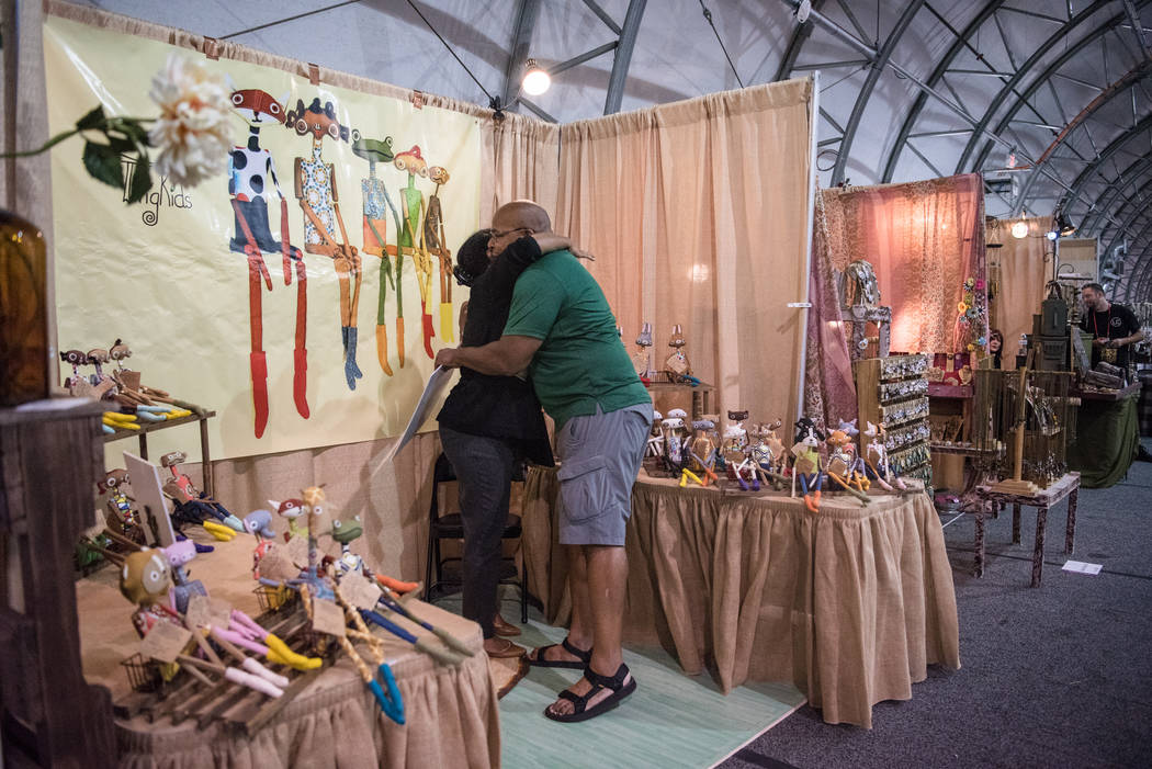 """Big Dave"" Sylvester, right, embraces a vendor at Las Vegas Gift Show at Las Vegas Market on Sunday, July 30, 2017, in Las Vegas. Morgan Lieberman Las Vegas Review-Journal"