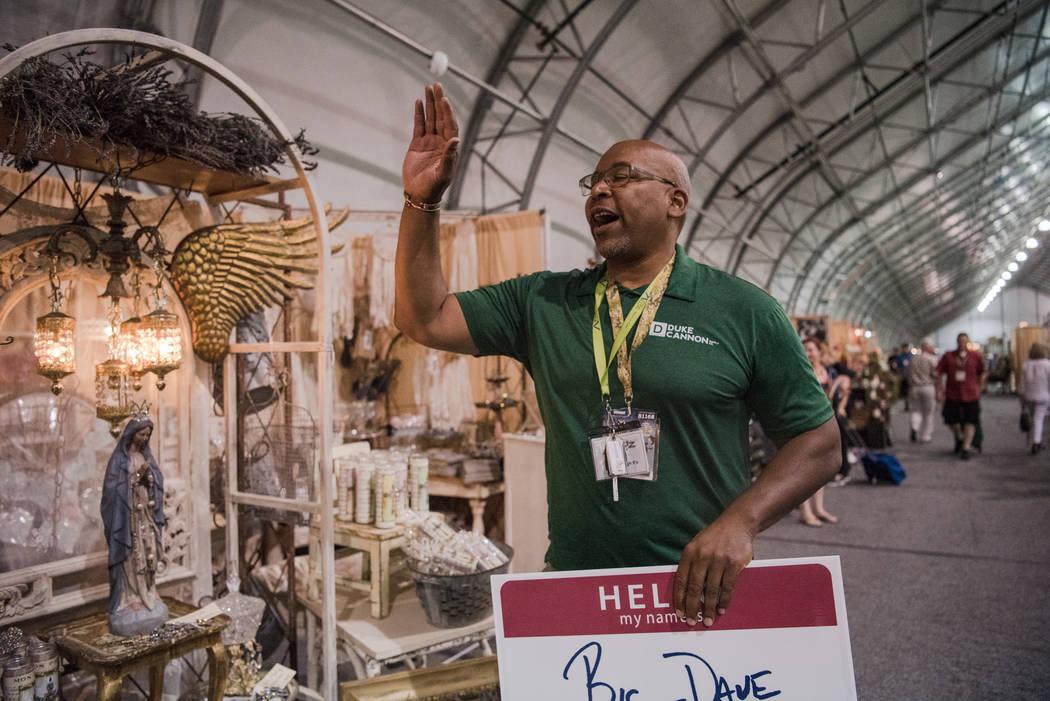 """Big Dave"" Sylvester high-fives bystanders at Las Vegas Gift Show at Las Vegas Market on Sunday, July 30, 2017, in Las Vegas. Morgan Lieberman Las Vegas Review-Journal"