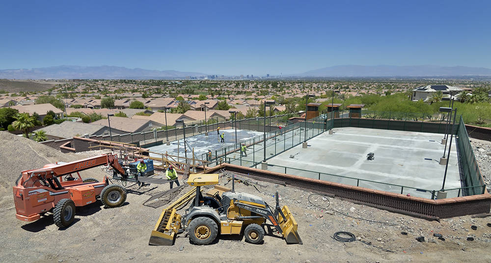 The spots courts of Ascaya clubhouse is near completion. (Bill Hughes Real Estate Millions)