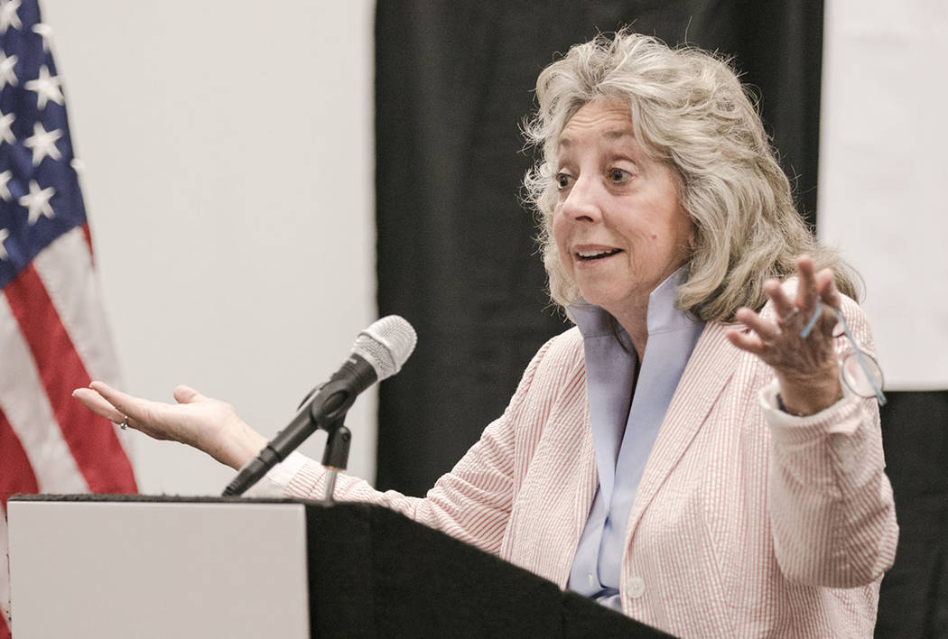 "Congresswoman Dina Titus speaks at an ""Our Lives on the Line Nationwide Day of Action"" event at UNLV Holbert Hendrix Auditorium on Saturday, July 29, 2017, in Las Vegas. Morgan L ..."