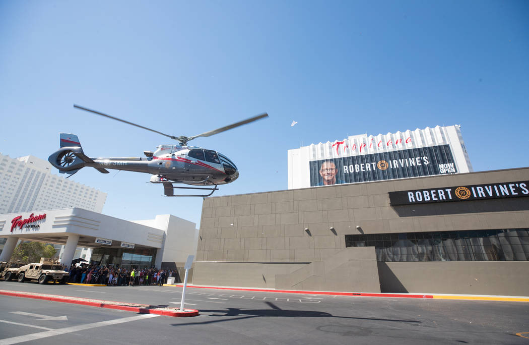 A helicopter carries Robert Irvine to the opening of Robert Irvine Public House at the Tropicana on Thursday, July 27, 2017 (Erik Kabik Photography)