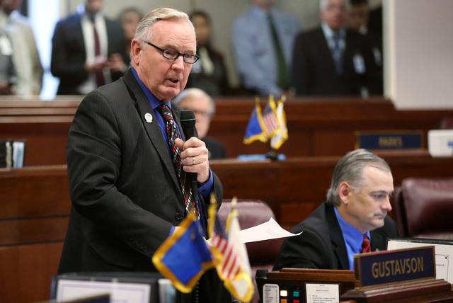 Nevada Sen. Don Gustavson, R-Sparks, speaks at the Legislative Building in Carson City, Nev., on Monday, June 1, 2015. Cathleen Allison Las Vegas Review-Journal