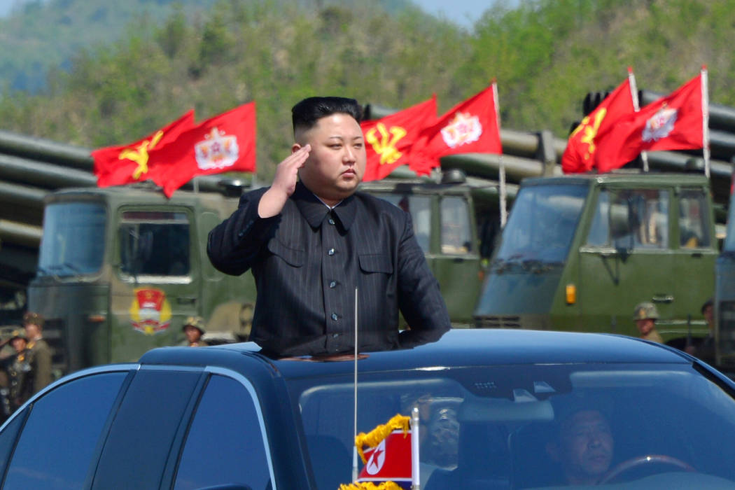 North Korea's leader Kim Jong Un watches a military drill marking the 85th anniversary of the establishment of the Korean People's Army (KPA) in this handout photo by North Korea's Korean Central  ...