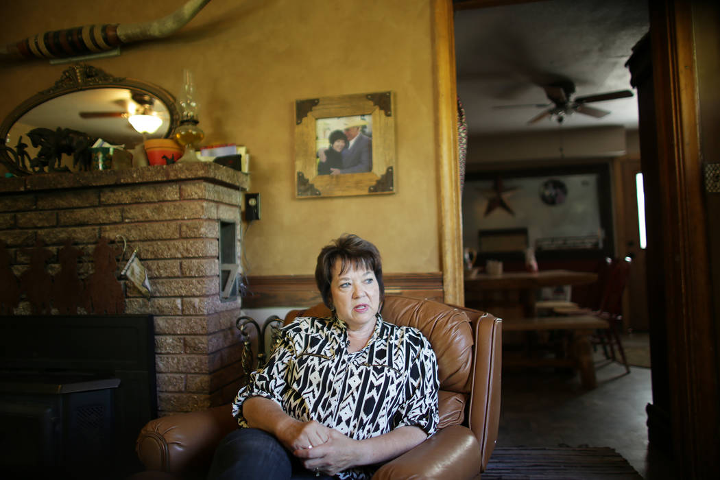 Carol Bundy speaks to the Review-Journal at her ranch on Sunday, July 30, 2017, in Bunkerville. Interior Secretary Ryan Zinke is in the area to discuss the review of Nevada's Gold Butte and the Ba ...