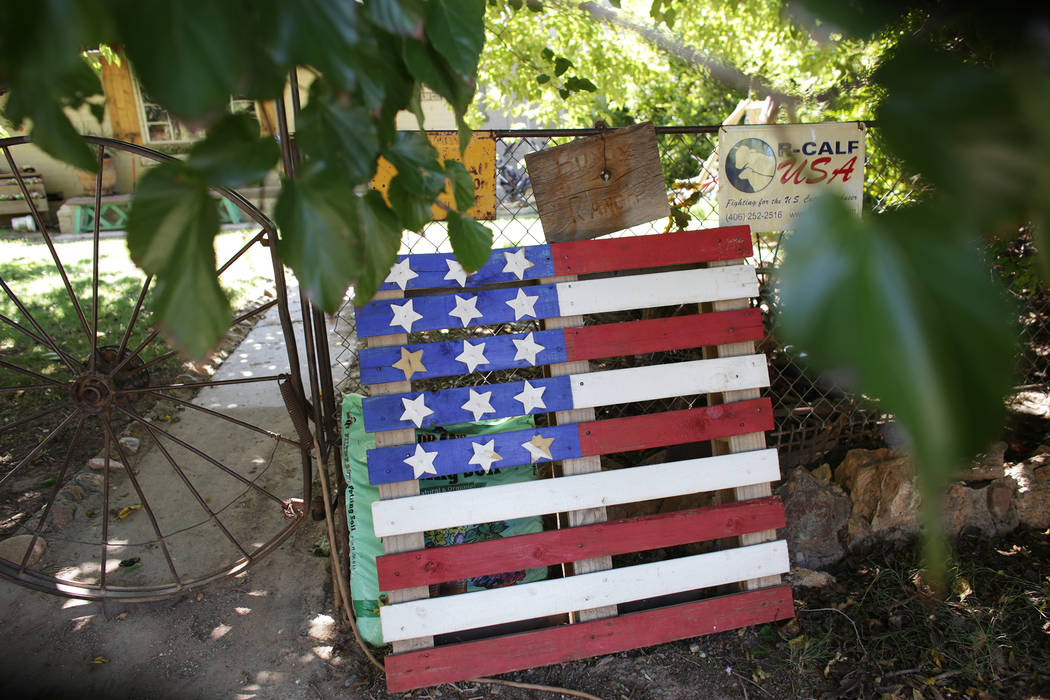 Decorations on the fence of the Bundy Ranch on Sunday, July 30, 2017, near Bunkerville. Interior Secretary Ryan Zinke is in the area to discuss the review of Nevada's Gold Butte and the Basin and  ...