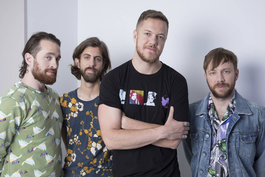 CORRECTS NAME OF BAND MEMBER AT LEFT TO DANIEL PLATZMAN, INSTEAD OF BRITTANY TOLMAN - This June 20, 2017 photo shows members of Imagine Dragons, from left, Daniel Platzman, Wayne Sermon, Dan Reyno ...