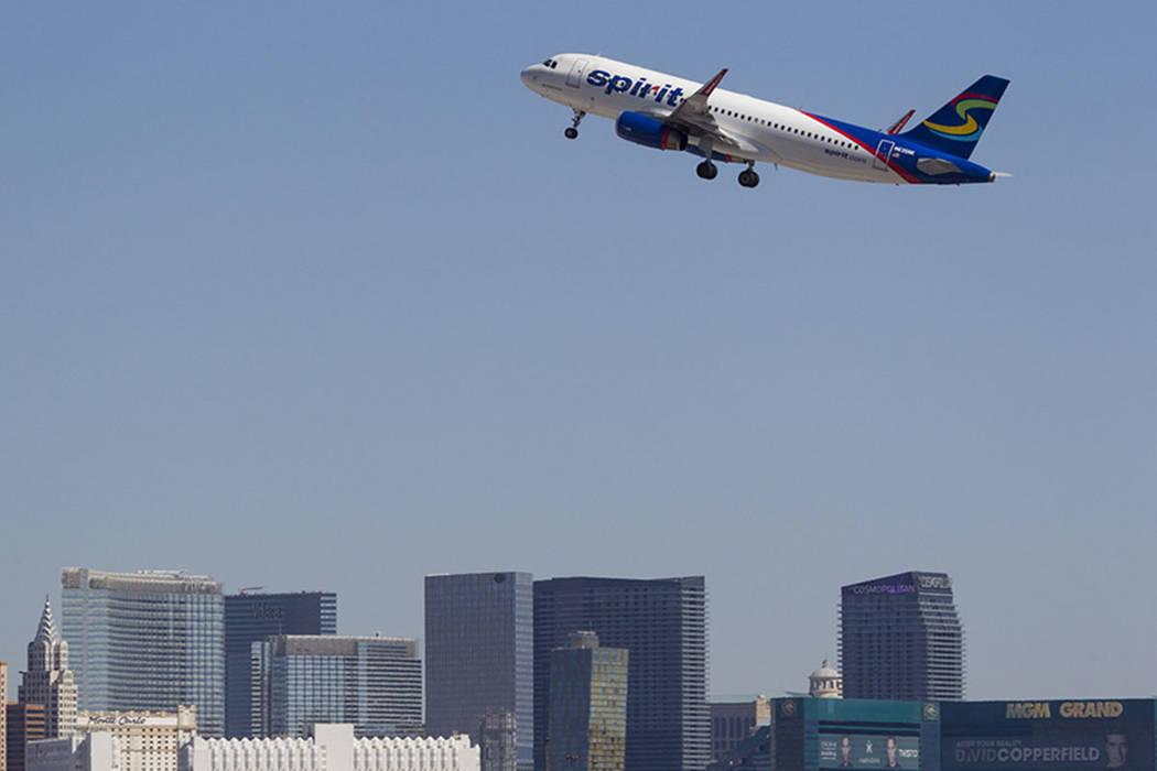 A Spirit Airlines jetliner departs McCarran International Airport in Las Vegas on Wednesday, June 28, 2017. Richard Brian Las Vegas Review-Journal @vegasphotograph