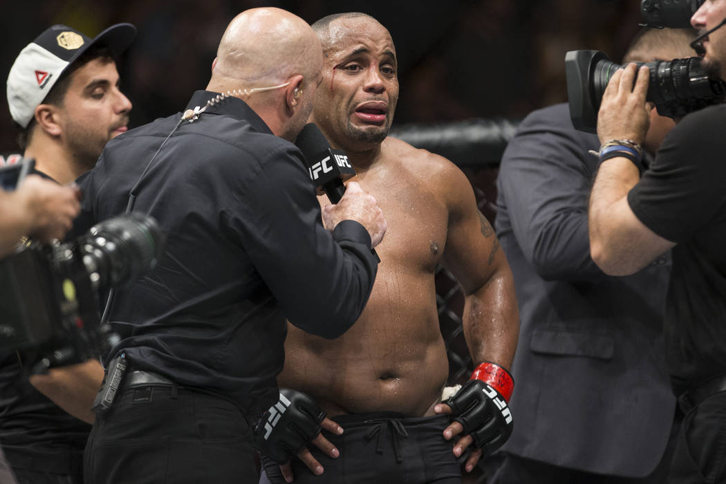 Daniel Cormier after his loss against Jon Jones in the light heavyweight title bout during UFC 214 at the Honda Center in Anaheim, Calif., on Saturday, July 29, 2017. Jones won by knockout. Erik V ...